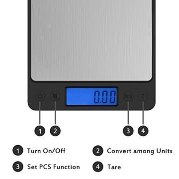 500g/0,01g Taschenwaage -Ascher Digitale Taschenwaage, mit beleuchteter LCD-Anzeige, PCS Funktion, 500 x 0.01g Kapazität , Taschenwaage Feinwaage Digitalwaage Goldwaage Münzwaage Küchenwaagen - 3