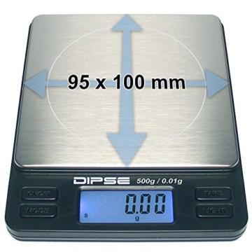 Digitalwaage TP-500 Feinwaage die in 0,01 g Schritten präzise bis 500g / 0,5kg wiegt, Taschenwaage, Feinwaage, Goldwaage mit extra-großer Wiegefläche - 4