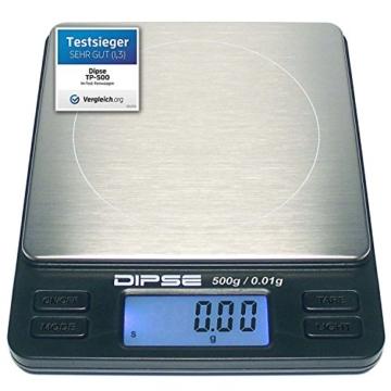 Digitalwaage TP-500 Feinwaage die in 0,01 g Schritten präzise bis 500g / 0,5kg wiegt, Taschenwaage, Feinwaage, Goldwaage mit extra-großer Wiegefläche - 1