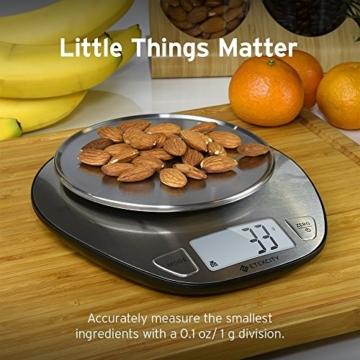 Etekcity 5KG Digitale Küchenwaage, Digitalwaage, Elektronische waage, Hohe Präzision auf bis zu 1g (5kg Maximalgewicht), Tara-Funktion, aus Edelstahl mit Großem LCD-Display - 5