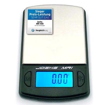 Joshs Digitalwaage Feinwaage die in 0,01 g Schritten präzise bis 100g wiegt, Taschenwaage, Briefwaage, Goldwaage, Tischwaage mit Edelstahl Wiegefläche - 1
