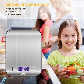 Küchenwaage Digitalwaage Professionelle Waage Electronische Waage, Adoric Küchenwaage mit LCD Display-wunderbare Präzision auf bis zu 1g(5kg Maximalgewicht)-Silbrig - 2