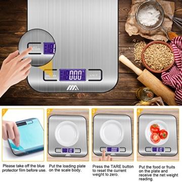Küchenwaage Digitalwaage Professionelle Waage Electronische Waage, Adoric Küchenwaage mit LCD Display-wunderbare Präzision auf bis zu 1g(5kg Maximalgewicht)-Silbrig - 3