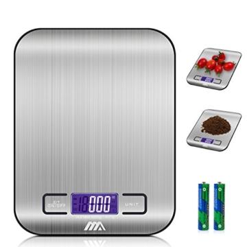 Küchenwaage Digitalwaage Professionelle Waage Electronische Waage, Adoric Küchenwaage mit LCD Display-wunderbare Präzision auf bis zu 1g(5kg Maximalgewicht)-Silbrig - 1