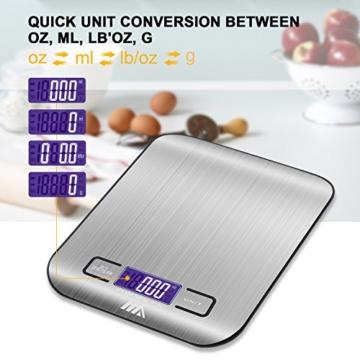 Küchenwaage Digitalwaage Professionelle Waage Electronische Waage, Adoric Küchenwaage mit LCD Display-wunderbare Präzision auf bis zu 1g(5kg Maximalgewicht)-Silbrig - 5
