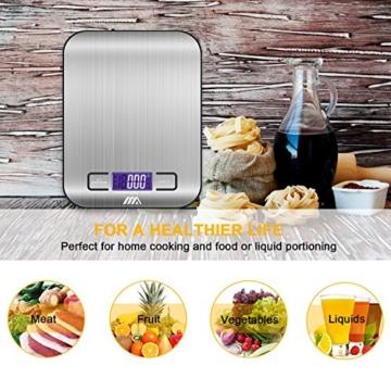 Küchenwaage Digitalwaage Professionelle Waage Electronische Waage, Adoric Küchenwaage mit LCD Display-wunderbare Präzision auf bis zu 1g(5kg Maximalgewicht)-Silbrig - 6