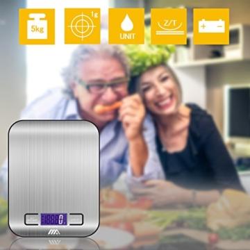 Küchenwaage Digitalwaage Professionelle Waage Electronische Waage, Adoric Küchenwaage mit LCD Display-wunderbare Präzision auf bis zu 1g(5kg Maximalgewicht)-Silbrig - 7