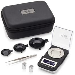 Smart Weigh Digitale Taschenwaage, Feinwaage, Goldwaage, 50 x 0,001 g, mit Tara-Funktion, Kalibriergewichte und Pinzette Sind Inbegriffen - 1
