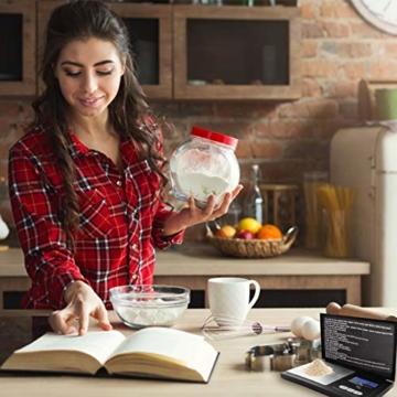 Lamker 200g/0,01g Digitale Taschenwaage Schwarz Mini Grammwaage mit Beleuchteter LCD und 7 Einheiten Feinwaage Digitalwaage Goldwaage Münzwaage Küche Waage - 2