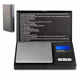 Lamker 200g/0,01g Digitale Taschenwaage Schwarz Mini Grammwaage mit Beleuchteter LCD und 7 Einheiten Feinwaage Digitalwaage Goldwaage Münzwaage Küche Waage - 1