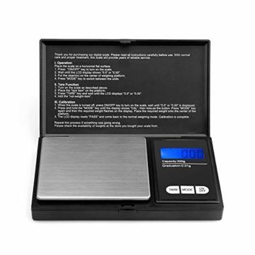 Reteck 200g/0,01g Taschenwaage - 200 x 0.01g Digitale Taschenwaage, Feinwaage, Digitalwaage Goldwaage Münzwaage mit LCD-Anzeige for Tabletten,Schmuck und vieles mehr - 2
