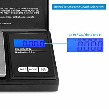 Reteck 200g/0,01g Taschenwaage - 200 x 0.01g Digitale Taschenwaage, Feinwaage, Digitalwaage Goldwaage Münzwaage mit LCD-Anzeige for Tabletten,Schmuck und vieles mehr - 4